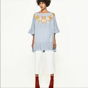 Zara Gingham Floral Embroidered Tunic Dress